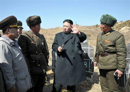 North Korean leader Kim Jong-un inspects the second battalion