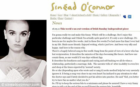 Not ashamed: Sinead O'Connor posted a long message on her website about 'suicidal' thoughts