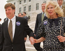 Patrick Kennedy walks down the Rhode Island statehouse steps with his mother Joan Kennedy in June 1998.