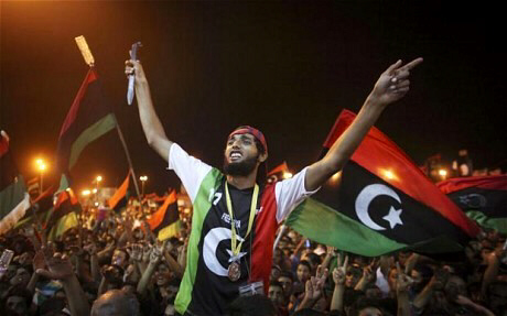 People celebrate in Tripoli