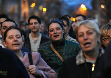 People protest against Hungarian President Pal Schmitt on March 27, 2012