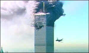 US passenger jet approaches second tower of World Trade Center