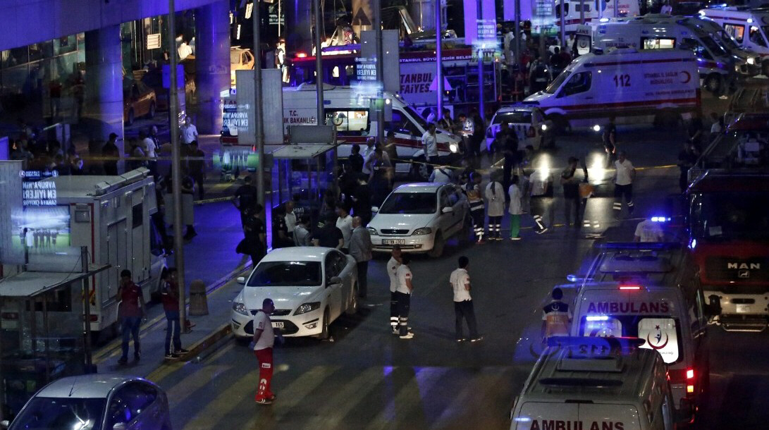 Police and paramedics arrive at scene of Istanbul airport bombings