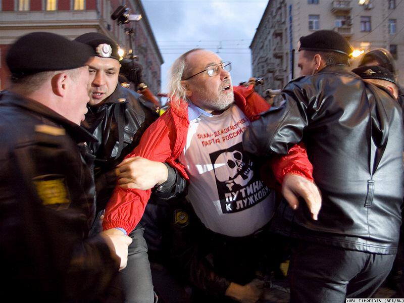 Police and troops detain participant in opposition action in Moscow