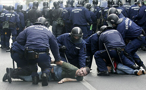 Police force two demonstrators to the ground during arrests