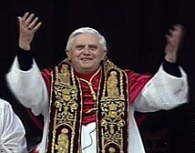 Pope Benedict XVI gestures to the crowd