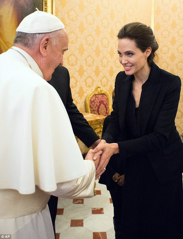 Pope Francis greets Angelina Jolie