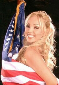 Porn star Mary Carey shows her excitement about the Flag Day dinner with President Bush.