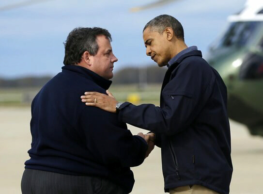President Barack Obama is greeted by New Jersey Gov. Chris Christie