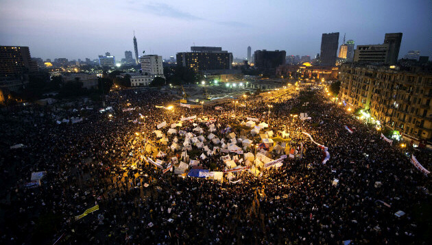 Protesters continue to rally in Tahrir Square on Tuesday