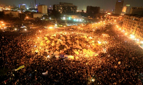 Protesters from all over Cairo descend on Tahrir Square