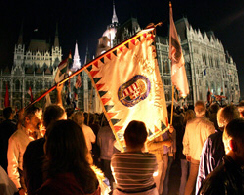 Protesters hold a flag as they stand in front of the parliament in Budapest