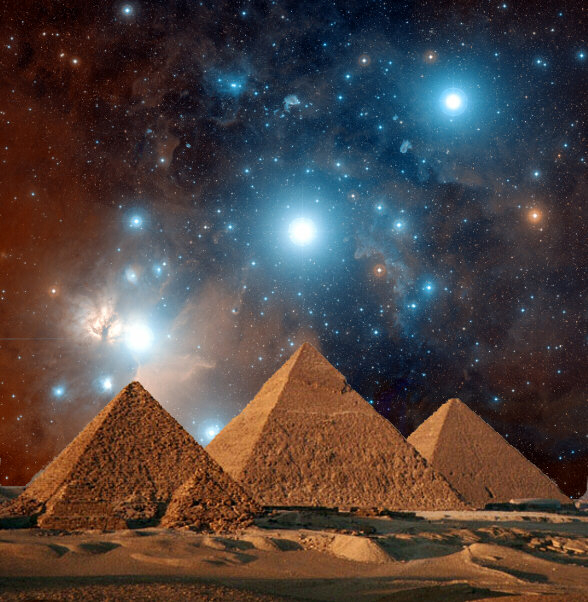 Pyramids aligned with stars in Orion