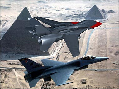 Egyptian and Jordanian fighter jets fly over the Pyramids