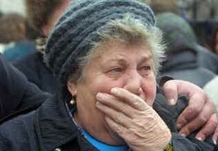 Relatives in distress outside Moscow hospital