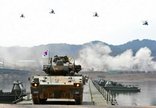 River crossing drill in Hwacheon, South Korea near North Korean border