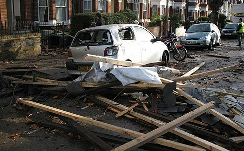 Road in Kensal Rise, NW London, littered with debris