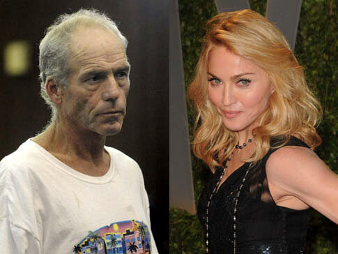 Robert Linhart [L] was arrested outside the home of Madonna [R]  with an ice pick and a knife in his possession