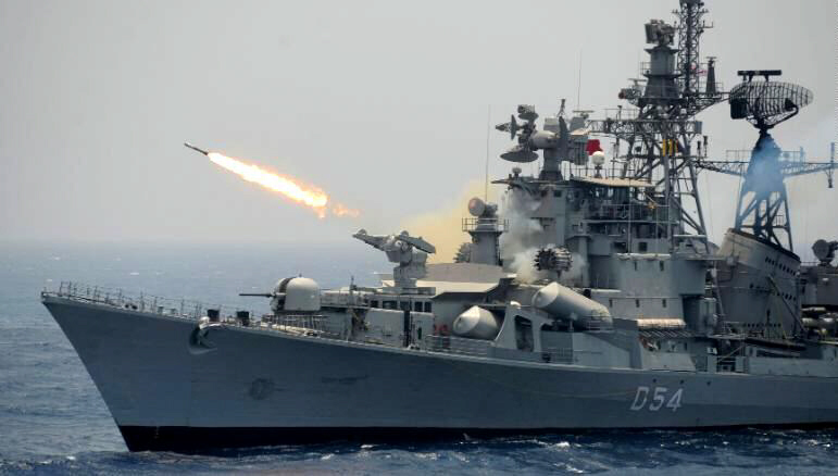 Rocket is fired from Indian Navy destroyer ship INS Ranvir