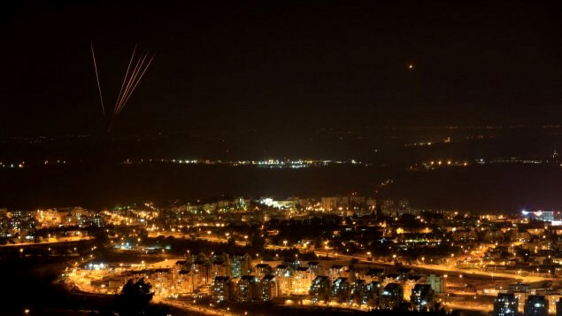Rockets fired out of Gaza into Israel Tuesday night (July 8, 2014)