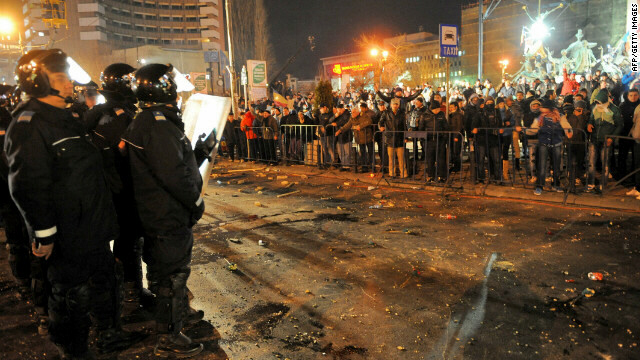 Romanian police take position in center of Bucharest on Jan 15, 2012