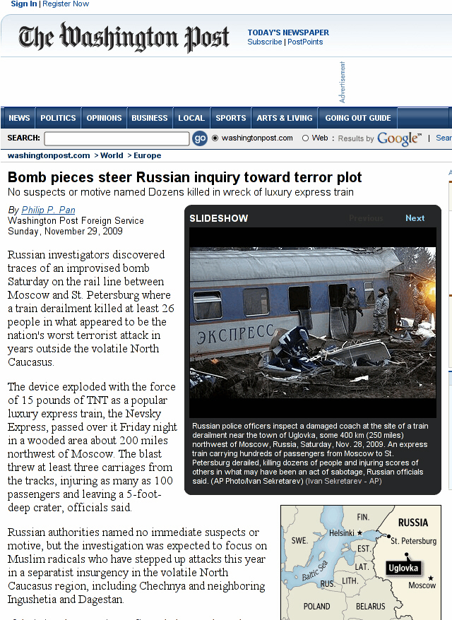 Russia blames train deaths on terrorism