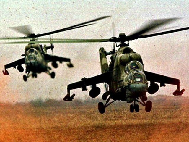 Russian Mi-24 helicopters landing in Syria