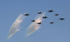 Russian warplanes fire flares