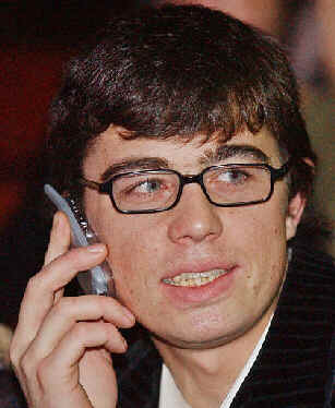 Russia's popular movie star Sergei Bodrov Jr., 30, uses a cell phone in this Jan. 13, 2002 file photo