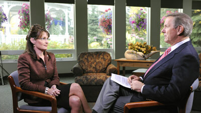 Sarah Palin talks to ABC journalist Charles Gibson