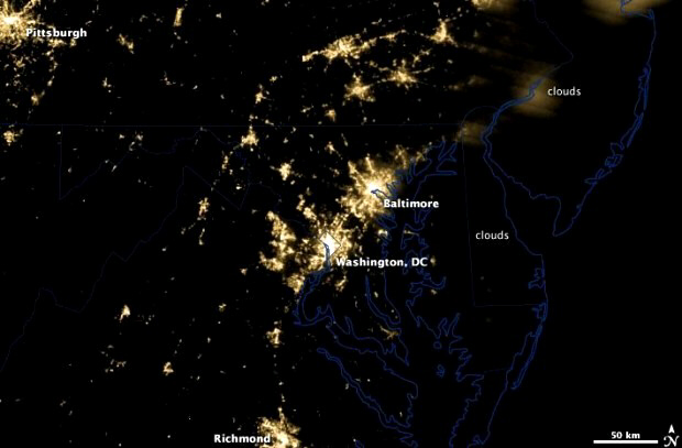 Satellite image after storm on June 30 showing power outages in DC area