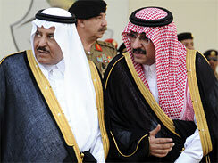 Saudi Interior Minister Prince Nayef bin Abdul Aziz al-Saud, left, with Prince Mohammed bin Nayef bin Abdul Aziz, the son and deputy of the Saudi Interior Minister, in 2008.  (AP Photo/Issa Mohammad)