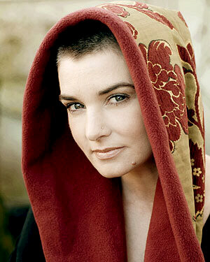 Sinead O'Connor covered with a mantle