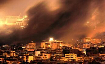 Smoke drifts across Beirut after an Israeli airstrike