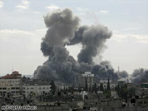 Smoke rises from the Gaza town of Rafah