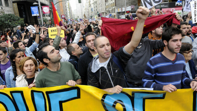 Spaniards took to the streets to decry the economic crisis