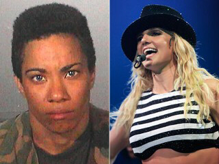 Deranged stalker Miranda Tozier-Robbins [L] attempted to break into the home of singer Britney Spears [R] after peering through her windows.