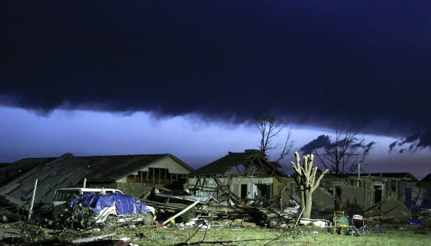 Storm clouds roll in over devastated neighborhood of Moore, OK on May 21