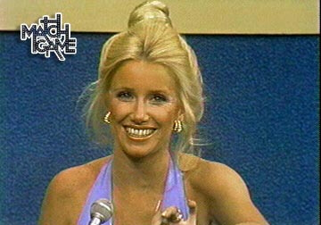 A younger Suzanne Somers appears as a celebrity contestant on the Match Game