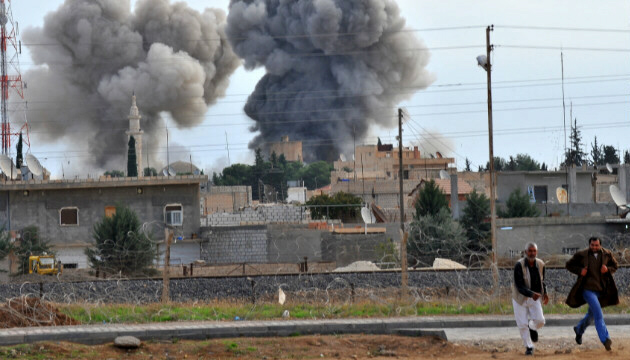 Syrian aircraft bomb the Syrian-Turkish border town of Ras al-Ain