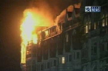 Taj Mahal Hotel destroyed by bomb and fire
