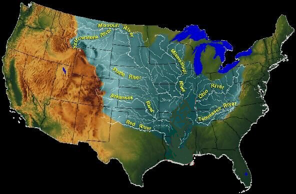 Temporary future map of the USA, during great Midwest flood