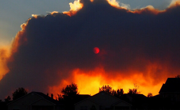 The High Park Fire obscures the sun