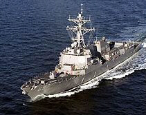 The warship USS Mustin heads towards N Korean waters