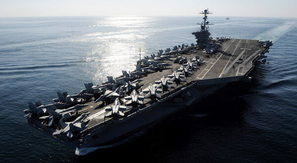 The aircraft carrier John C. Stennis in the Strait of Hormuz