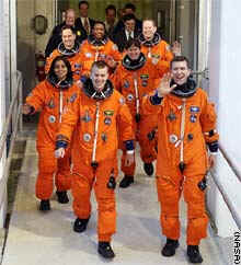 The crew of STS-107, the last Columbia mission, walked out for launch on January 16
