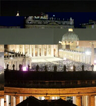 The dome of St. Peter's Basilica towers over thousands gathered in Vatican City