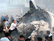 The plane crashed close to an artery road full of vehicles in Medan's Padang Bulan