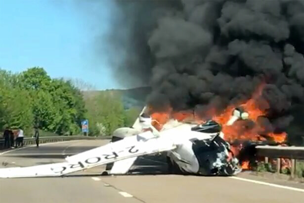The plane wreckage on the A40 in south east Wales