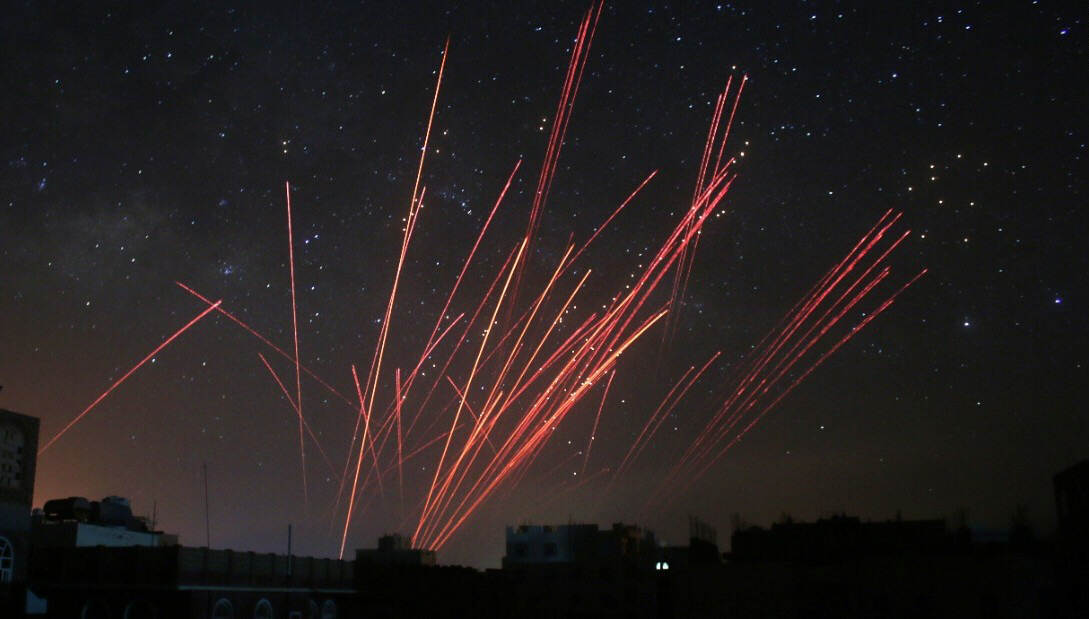 The sky over Sanaa, Yemen, is illuminated by anti-aircraft fire